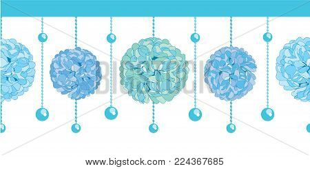 Vector Set of Blue Baby Boy Birthday Party Paper Pom Poms and Beads Set Horizontal Seamless Repeat Border Pattern. Great for handmade cards, invitations, wallpaper, packaging, nursery designs. Party decor.