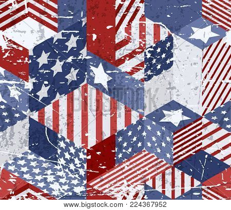 Vector Seamless Usa Flags Pattern. 3D Isometric Cubes Background In American Flag Colors.