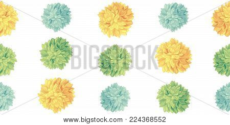 Vector Cute Yellow Green Birthday Party Paper Pom Poms Set Horizontal Seamless Repeat Border Pattern. Great for handmade cards, invitations. Party decor.