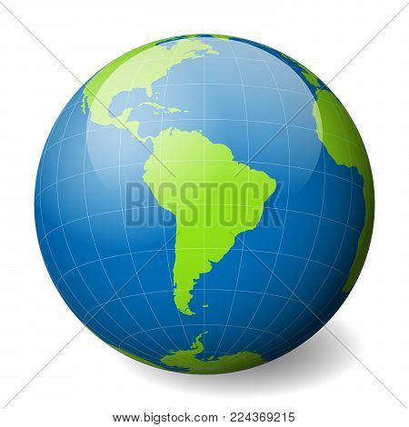 Vector y foto earth globe green world map blue bigstock earth globe with green world map and blue seas and oceans focused on south america gumiabroncs Choice Image
