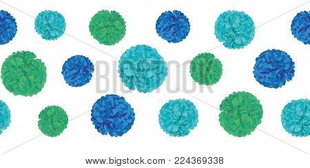 Vector Blue Birthday Party Paper Pom Poms Set Horizontal Seamless Repeat Border Pattern. Great for handmade cards, invitations, wallpaper, packaging, nursery designs. Party decor.