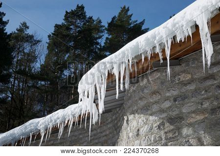 Icicles Canfranc Valley, Pyrenees, Huesca Province, Aragon, Spain.