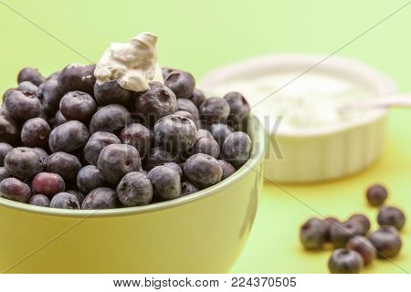 Blueberries with whipped cream. A bowl of delicious blueberries along with a bowl of whipped cream.