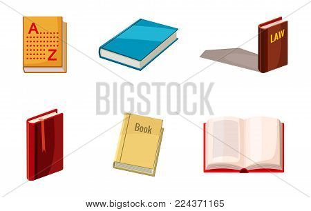 Book icon set. Cartoon set of book vector icons for web design isolated on white background