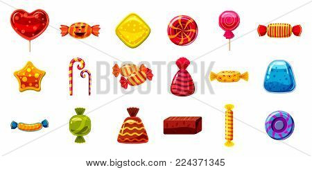 Candy icon set. Cartoon set of candy vector icons for web design isolated on white background