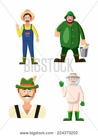 Farmer icon set. Cartoon set of farmer vector icons for web design isolated on white background
