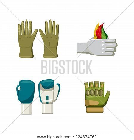 Gloves icon set. Cartoon set of gloves vector icons for web design isolated on white background