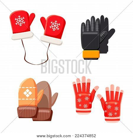 Winter gloves icon set. Cartoon set of winter gloves vector icons for web design isolated on white background