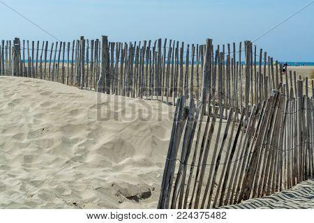 Nice White Sand Beach At Le Grau Du Roi,  France's Languedoc Coast, Is Known As Plage De L'espiguett