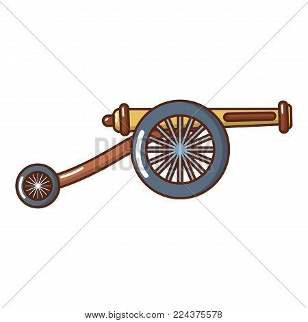 Artillery cannon icon. Cartoon illustration of artillery cannon vector icon for web.