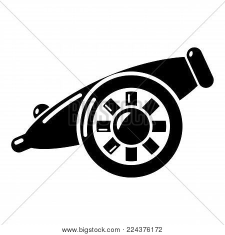 Artillery cannon icon. Simple illustration of artillery cannon vector icon for web.