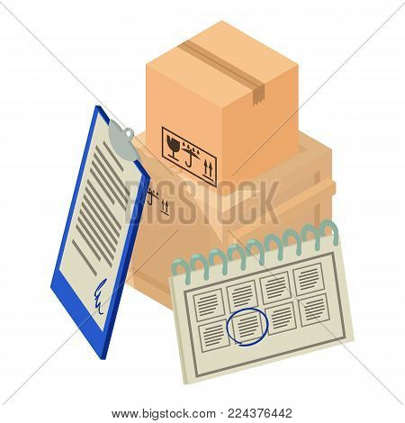 Delivery package icon. Isometric illustration of delivery package vector icon for web