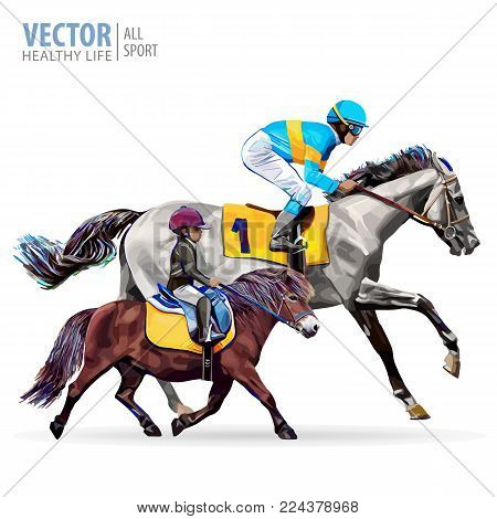 Jockey on horse. Boy riding a pony. Equestrian sport. Riding horse. Champion. Horse racing. Hippodrome. Racetrack. Jump racetrack. Isolated on a white background. Vector illustration
