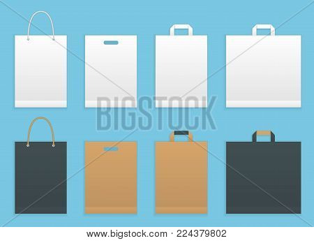 Vector illustration set of six paper shopping or grocery bags. Paper shopping bags packaging. Realistic template mockup vector illustration isolated on blue background