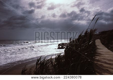 Storm. The beach of Estepona during a storm. Andalusia, Spain.