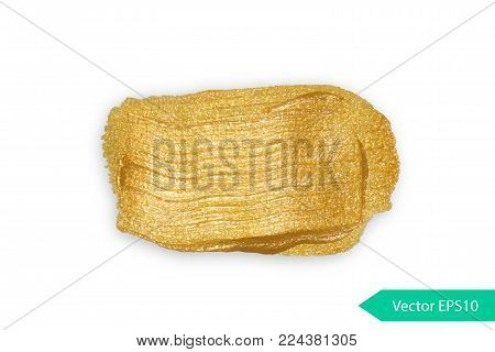 Acryl paint texture stane dub. Gold acrylic brush stroke. Abstract background design vector illustration. Isolated grunge shape golden oil splash. Color paintbrush banner.