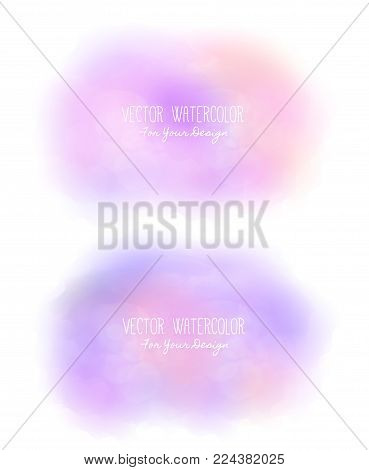 Set of 2 bright stains. Pseudo watercolor. Paint texture. Colorful daub. It can be used as background for text for card, cover, invitation, banner, T-shirt. Pink and purple colors. Vector, eps10