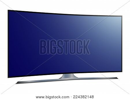 Curved tv. 4k Ultra HD screen - stock vector.
