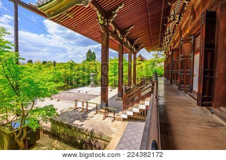 Kyoto, Japan - April 28, 2017: wood footpath and architecture of Amida-do hall in Eikan-do Temple or Zenrin-ji belongs to the Jodo sect of Japanese Buddhism. Eikando is a popular Zen Temple.