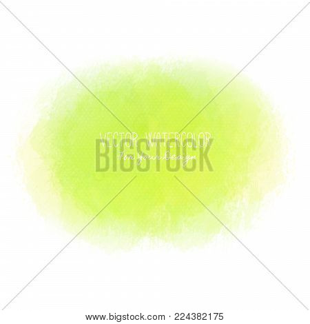 Bright stain. Pseudo watercolor. Paint texture. Colorful daub. It can be used as background for text for card, cover, invitation, banner, T-shirt. Green colors. Vector illustration, eps10
