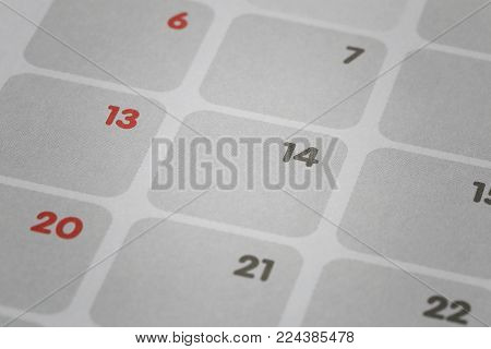 calendar background focus in number fourteen for concept of Valentine's Day and have copy paces to your design in you work.