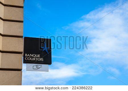 BORDEAUX, FRANCE - DECEMBER 27, 2017: Banque Courtois Logo on their main office in Bordeaux.  Banque Courtois is the oldest French bank, leader in private banking in Southwestern France, part of Credit du Nord