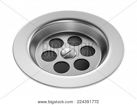 Stainless steel bathroom sink isolated on white background. Metal bath drain hole plug. 3D illustration