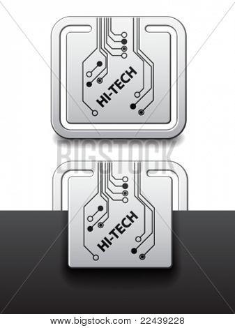 vector hi-tech square circuit board attached labels