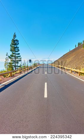 Perspective of highway in highland of Tenerife. The Canaries, Spain