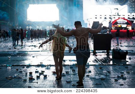 Cluj-Napoca, Romania - August 6, 2017:  Plastic waste and food residues after four days of party at Untold Festival, the Best Major Music Festival of Europe