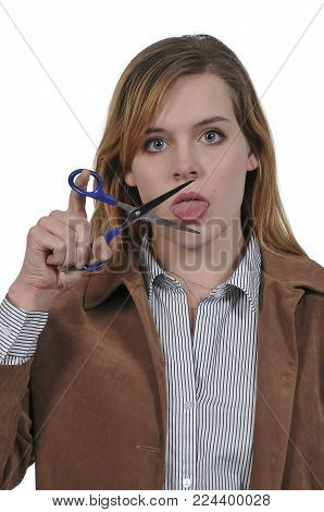 Woman about to cut her tongue with scissors so she wont speak out