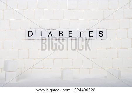 Word DIABETES spelled out with sugar cubes. Nationwide, diabetes rates have nearly doubled in the past 20 yrs. More than 29 million American adults have diabetes, another 86 million have prediabetes.