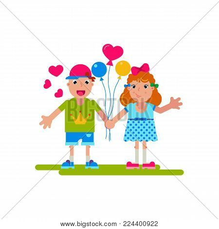 Happy boy and girl holding balloons in the shape of a heart