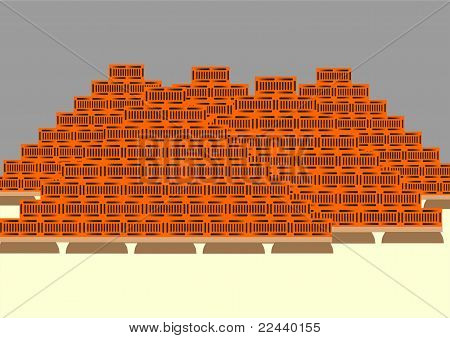 Pallets with a brick.
