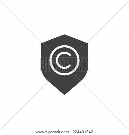 Shield with copyright sign icon vector, filled flat sign, solid pictogram isolated on white. Copyright protection symbol, logo illustration.