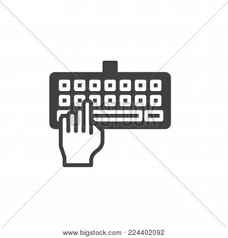 Hand typing keyboard icon vector, filled flat sign, solid pictogram isolated on white. Keyboard input symbol, logo illustration.
