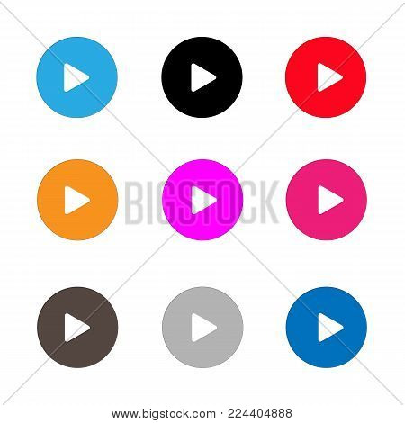 play sign icon set. play button on white background. flat style.