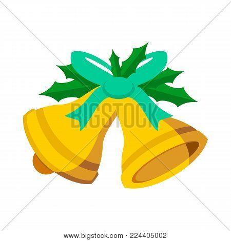 Jingle Bells Cyan Ribbon Vector Graphic Illustration Sign Symbol Design