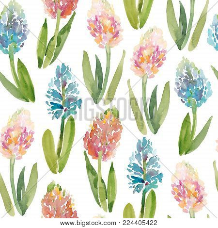 Seamless pattern of hand-painted pink and blue hyacinth flowers, watercolor illustration on white background. Watercolor seamless pattern of spring hyacinth flowers on white background