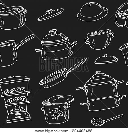 Hand Drawn Doodle Pots Steamers Seamless Pattern Vector Illustration. Symbol Collection.