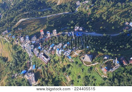 Sarangkot Pokhara Town Arial Cityscape In Nepal