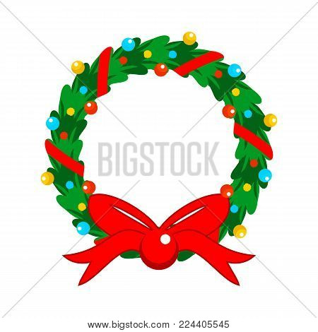 Flat Design Christmas Fully Decorated Garland Vector Graphic Illustration Sign Symbol Design