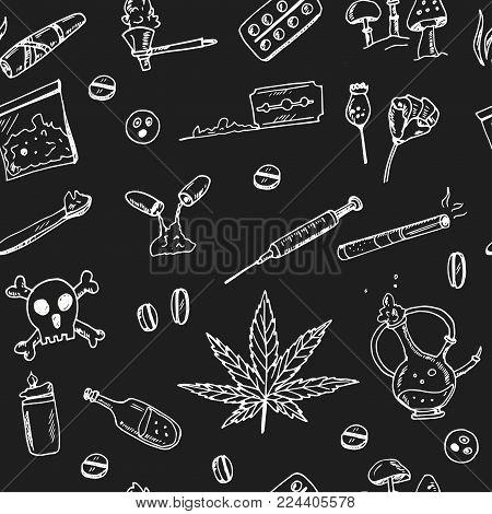 Hand Drawn Doodle Drug Addiction Seamless Pattern Vector Illustration. Symbol Collection.