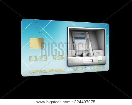 3D Illustration Of Money Withdrawal. Atm And Credit Or Debit Card. Isolated Black