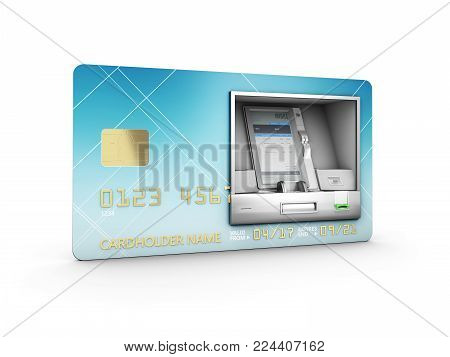 Money Withdrawal. Atm And Credit Or Debit Card. 3D Illustration