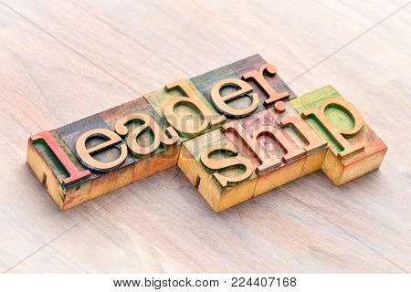 leadership word abstract in letterpress wood printing blocks stained by color inks