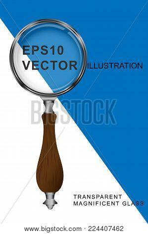 Magnifying glass transparent silver- vector illustration EPS10