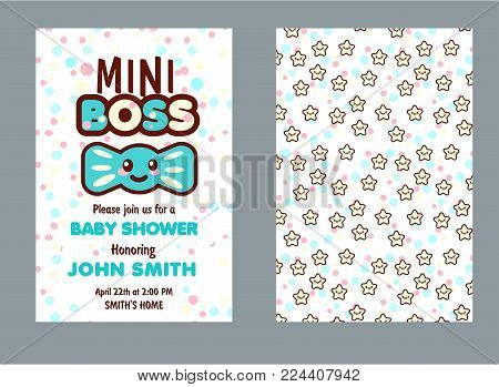 Baby shower party invitation. Kawaii style color cards to celebrate with family and friends special arrival, welcome mini boss boy. Vector illustration
