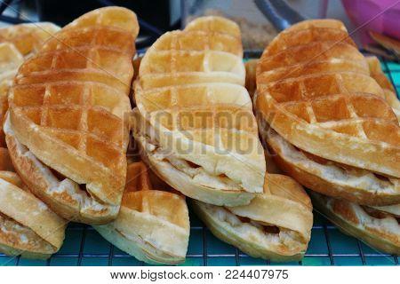 'Waffles (Plain Waffles)' Street Food In Thailand