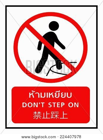 'Don't Step On' Sign In Multi Languages